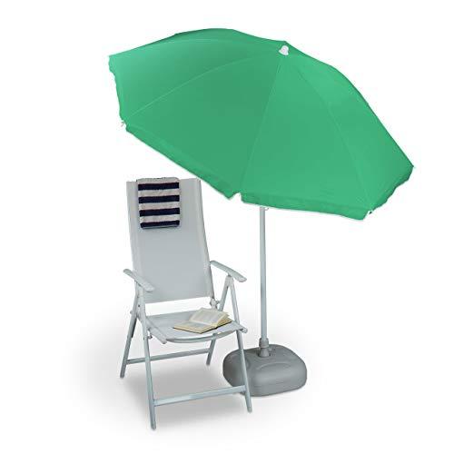 Relaxdays Ombrellone da Giardino, Spiaggia, 8 Stecche, inclinabile Unisex Adulto, Verde, 192x180x180 cm