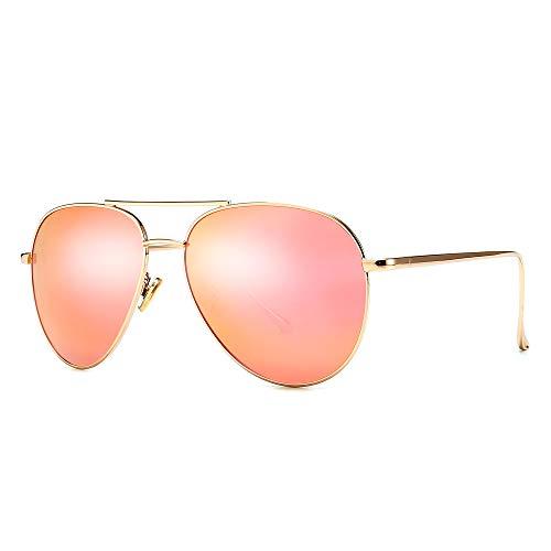 SUNGAIT Gafas de Sol de Aviador Pequeñas y Ligeras para Mujer - Lente Polarizada Espejada (Lente de Espejo Rosa Pequeña / Marco Dorado Claro, 57)