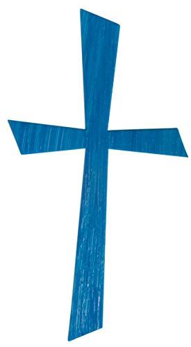 Rayher 31612374 Wachsmotiv Kreuz, azurblau, 10,5 x 5,5 cm, 1 Stück, zum Gestalten von Kerzen (Firmung, Konfirmation, Taufe, Hochzeit etc.)