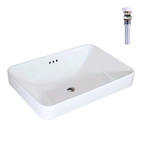 WinZo WZ6174D Semi-Recessed Bathroom Sink with Pop Up Drain, Rectangular Drop-in Vanity Basin With Overflow Ceramic White