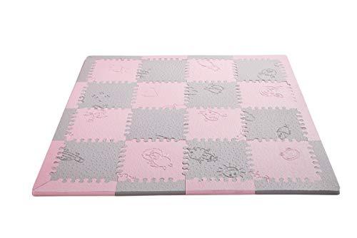 LuBabymats Mini - Alfombra puzzle de viaje para bebés, suelo extra acolchado de Foam (EVA). Medida: 110x110 cm. Color rosa y gris