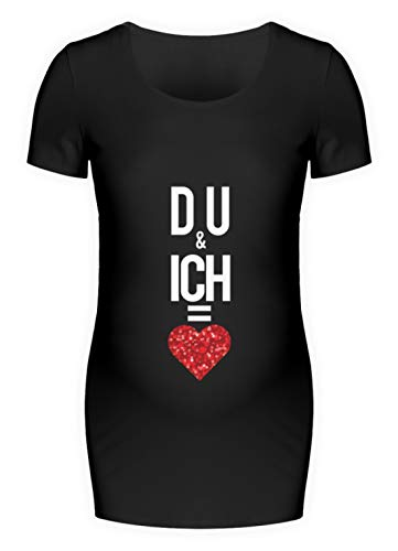Du & ich = Liebe Du und ich ergibt Liebe - Schwangerschafts Shirt -L-Schwarz