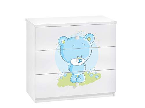 Mirjan24 Kommode Dreamer mit 3 Schubladen, Kinderkommode mit Schubladen, Schubladenkommode, Schrank für Jugendzimmer, Kinderzimmer, Schubladenkommode (Weiß/Blauer Teddy)