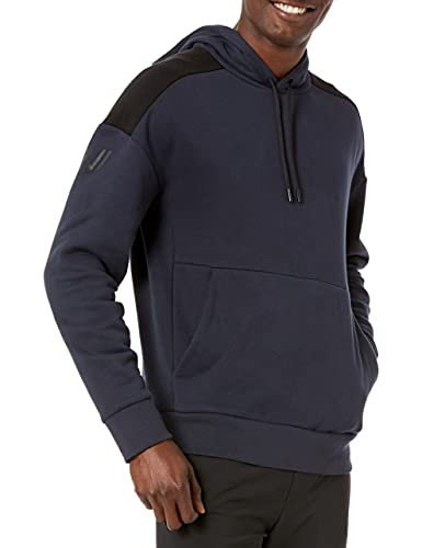 Amazon Brand - Peak Velocity Men's Medium-weight Fleece Pullover Loose-Fit Sweatshirt, Navy Blue/Black, Medium