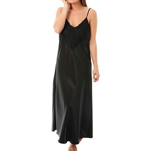 Camisón Mujer Encaje Vestido Costura Seda Simulación Sexy Ropa Interior Mujer Picardias Túnica Lencería Pijama de Satén Hombro sin Tirantes Atractivas Camisones de Dormir riou