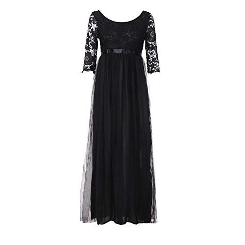 TEBAISE Sommer Damen Elegant Spitzen Ballkleid 2/3 Arm Vintage Chiffon Kleid Party Abendkleid...