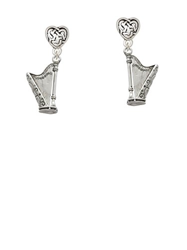 Harp - Celtic Heart Earrings