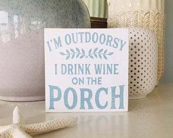 Not Branded Cartel de porche ~ citas de vino ~ regalo de anfitriona ~ decoración al aire libre ~ señal de vino ~ señal de madera de playa ~ Causa Down The Shore Everything's Alright