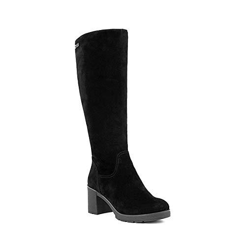 Bota de Lana cálida Hecha a Mano de Calidad para niños Gamuza Redonda Punta Cuadrada Zapatos de tacón Alto Botas hasta la Rodilla sexys para Mujer Casual