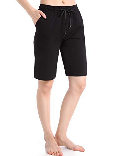 Ferrieswheel Story Bermudas para mujer, longitud a la rodilla, pantalones cortos de yoga con bolsillos para entrenamiento - negro - XXL