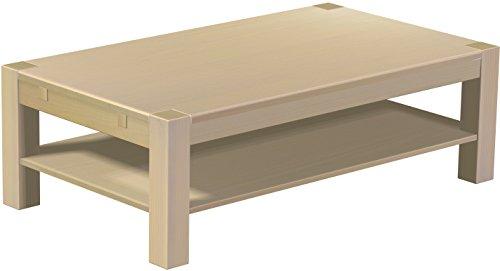 Brasilmöbel Couchtisch Rio Kanto 140x80 cm Birke mit Ablage Wohnzimmertisch Holz Tisch Pinie Massivholz Stubentisch Beistelltisch Echtholz Größe und Farbe wählbar