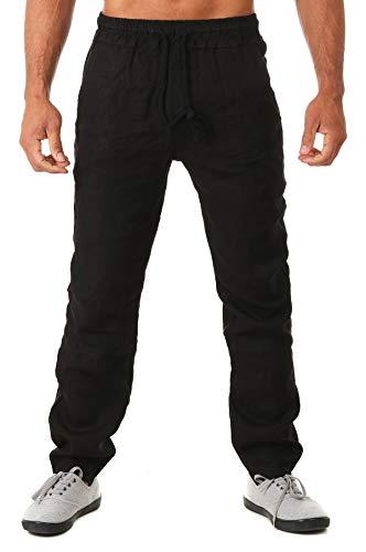 Young & Rich Herren Leinenhose Sommerhose 100% Leinen mit Kordelzug Straight Regular Fit S4103, Grösse:M, Farbe:Schwarz