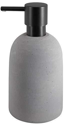 Spirella Seifenspender Gemma mit Edelstahlpumpe Flüssigseifen-Spender Porzellan 500ml Langliebig und Robust Grau