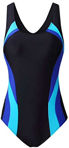 EBMORE Womens One Piece Swimsuit Bathing Suit Chlorine Resistant Athletic Sport Training Exercise (US (20-22), Black&Blue)