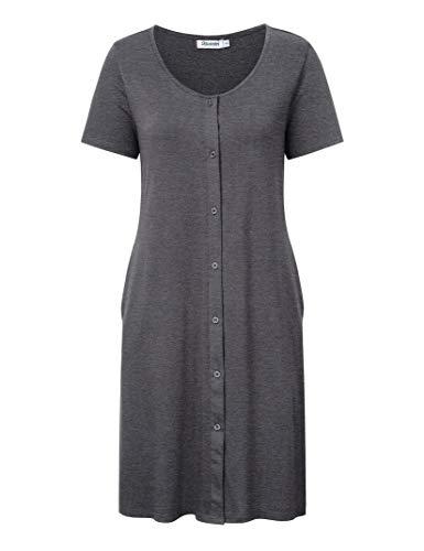 KOJOOIN Damen Geburt Stillnachthemd Schlafanzug Schwangerschaft Pyjama Nachtwäsche mit Durchgehender Knopfleiste Dunkelgrau L