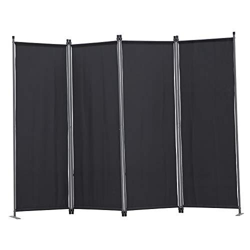 Angel Living Biombo Separador de 4 Paneles, Decoración Elegante, Separador de Ambientes Plegable, Divisor de Habitaciones, 225X165 cm (Negro)
