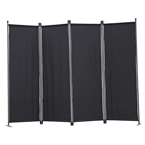 Angel Living Paravent 4tlg Sichtschutz,Faltbildschirm Raumteiler Sichtschutz aus Stahl und Polyester (Schwarz)