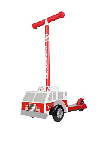 Dimensions 3D Firetruck Self Balancing Scooter ACTSCOT-476CV | Toddler Scooter & Kids Scooter, 3 Wheel Platform, Foot Activated Brake, 75 lbs Weight Limit, for Ages 3 and Up