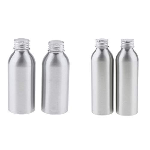 N/A/a Juego de Botellas de Envase de Maquillaje Cosmético de Botella de Loción Vacía de Metal Plateado