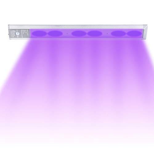 Nrqshte UV-lampe 5000K LED Wiederaufladbare Unterbauleuchte mit Bewegungsmelder für Schlafzimmer, Bad, Wohnzimmer, Teppichboden, Haustier, Keller,Kleiderschrank Hängeschrank Schranklicht