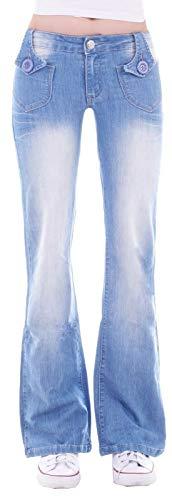 Damen Bootcut Hosen Hüftjeans Jeans Schlagjeans blau Schlag-Hose-n Damenjeans Damen-Hose-n Jeans-Hose-n Hüft-Hose-n Niedrige-r Leib-Höhe Bund Weite-m-s Bein Mega Großer Denim blaue Gr Größe XS 34