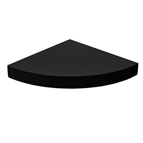 MELANNCO Corner Shelf Round Wood Chunky, Black