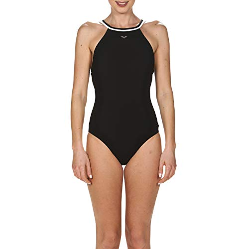 arena Damen Bodylift Badeanzug Therese Light Cross (Shapingeffekt, Figurformend, Schnelltrocknend, UV-Schutz), Black-White (501), 38