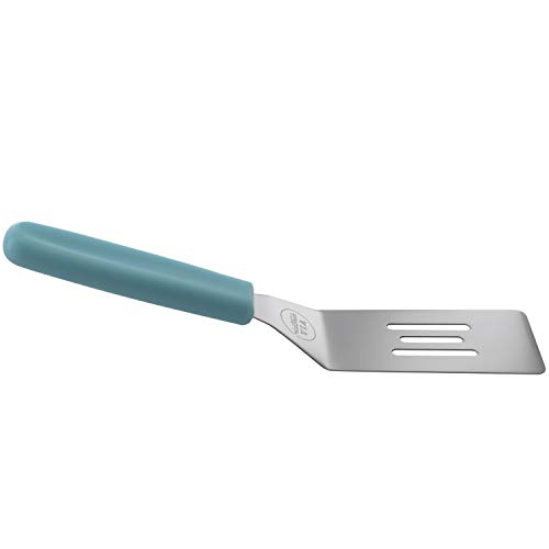 KitchenVIA Cookie Spatula (Blue Handle) Non-Stick, Heat-Resistant Silicone | Small, Ergonomic | Pizza, Pastries, Pancakes | Beveled Edge, Slotted Flat Surface | Blue