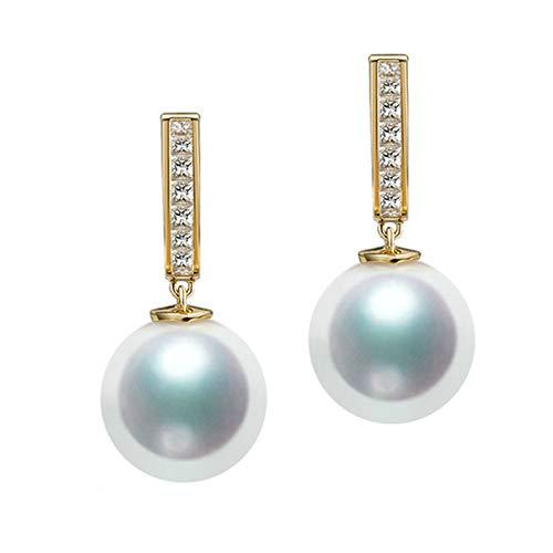 KnSam 18K Oro Amarillo Pendiente, Arete Redondo Forma con Perla Diamante Blanco, Perla Blanco, Color Oro, Oro(Perla Blanca)