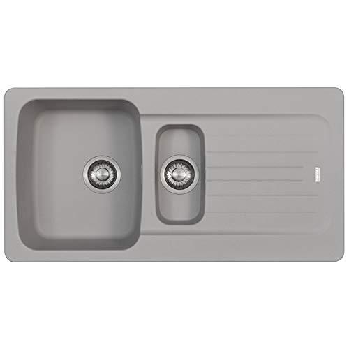 Franke Aveta 1.5 Bowl Stone Grey Composite Tectonite Reversible Kitchen Sink with Basket Strainer Waste kit & Overflow