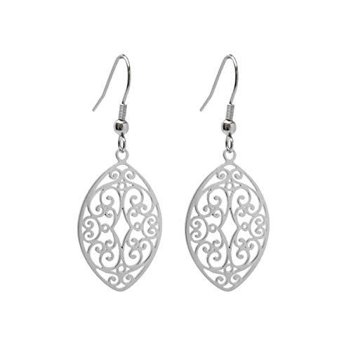 Stainless Steel Filigree Polished Leaf Dangle Cutout Earrings for Sensitive Ears | Jewelry for Women