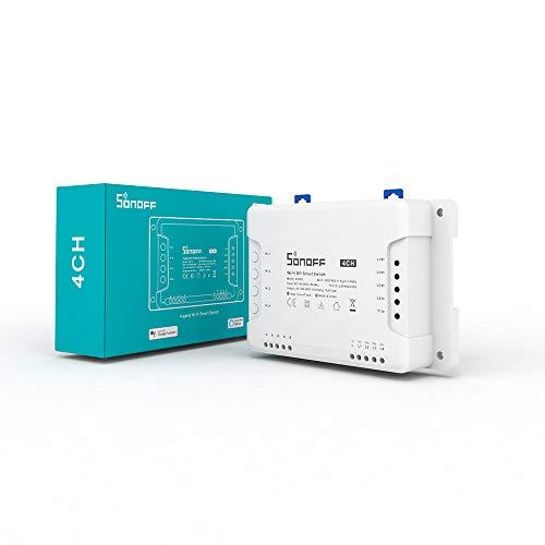 Interruptor Inteligente SONOFF 4CHR3 Wi-Fi De 4 bandas, 3 Modos de Trabajo Con modo de autobloqueo, enclavamiento e inching, Puerta De Garaje Con Control Remoto, Supports Alexa, Google Home e IFTTT