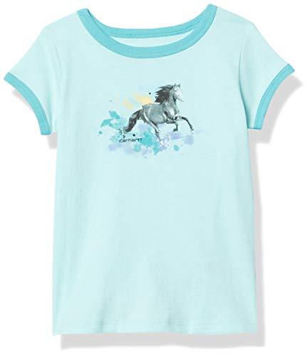 Carhartt Girls' Short Sleeve Ringer Tee T-Shirt, Splatter Pant Horse (Blue Tint), 3T
