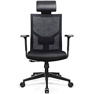 Amzdeal Bürostuhl: Ergonomischer Schreibtischstuhl mit einstellbarer PU-Kopfstütze