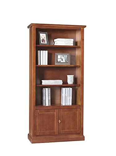 Milani Home s.r.l.s. Libreria Tinta Noce 90 X 41 X 186 per Interno Sala da Pranzo Salotto Cucina Ufficio Massello Arte Povera