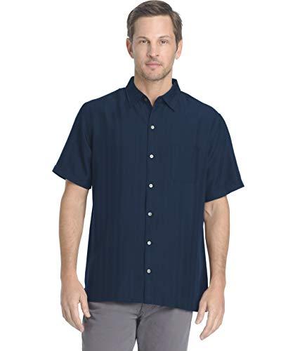 Van Heusen Men's Air Short Sleeve Button Down Poly Rayon Stripe Shirt