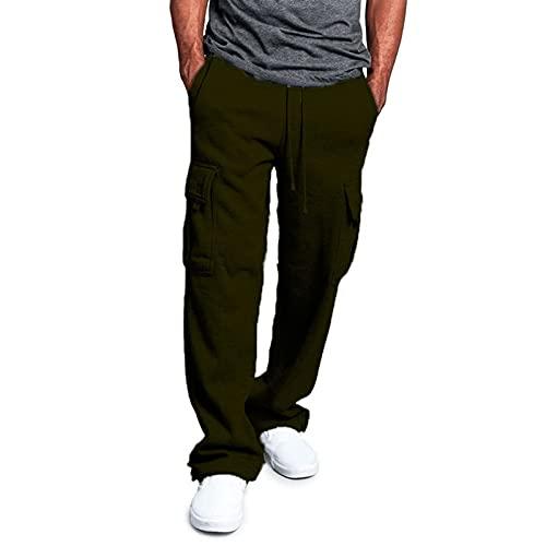 Huntrly Pantalones Casuales para Hombre, Moda Informal, Temperamento, Sueltos, Pierna Recta, cómodos, Pantalones, Retro, Multibolsillos, Pantalones Casuales M