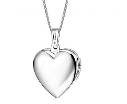 Unendlich U Collana da donna con medaglione alla moda apribile a forma di cuore, con portafoto per due immagini, realizzato in acciaio INOX