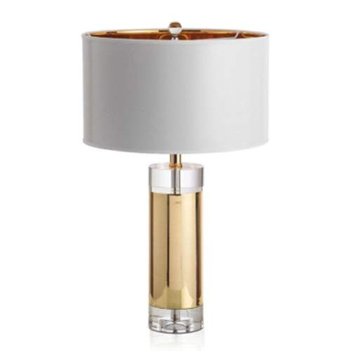 Lighfd Lámpara De Mesa De Cristal Americano Simple Moderno Moderno Luz De Dormitorio Atmosférico Lámpara De Noche Lámpara De Noche Lujo Decorativo Mesa Luz (Color : Button Switch)