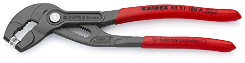 Preisvergleich Produktbild KNIPEX 85 51 180 A Federbandschellen-Zange grau atramentiert mit rutschhemmendem Kunststoff überzogen 180 mm