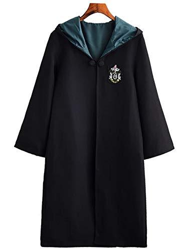 Monissy Harry Potter Kostüm Kinder Erwachsene Umhang Zauberstab Gryffindor Hufflepuff Ravenclaw Slytherin Set Fanartikel Weste Krawatte Schal Brille Halskette Karneval Verkleidung Fasching Halloween