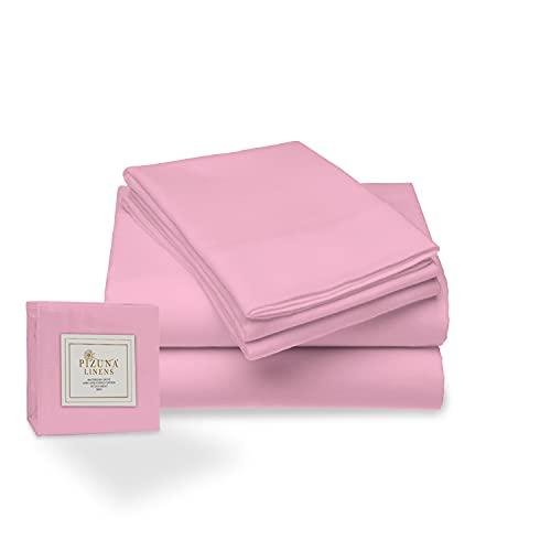 Juego de sábana de 400 conteo de Hilos, 4 Piezas de 100% algodón de Fibra Larga, Lujoso Suave Saten Conjunto de Hojas, 1 sábana Adjustable, 1 sábana Plana 2 Fundas de Almohada (Rosa lila - Cama 135cm)