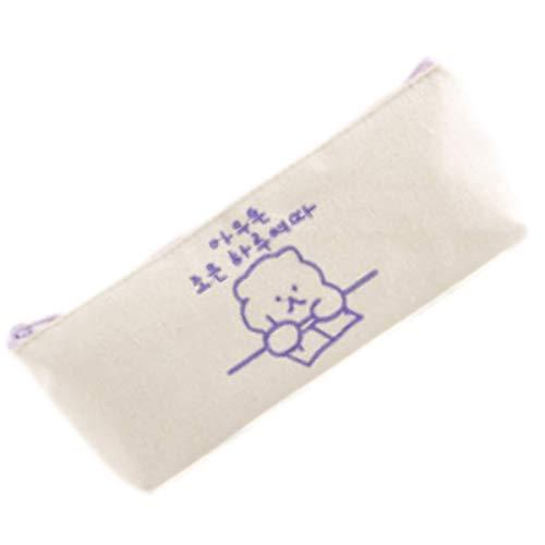 TOMMYFIELD 筆箱 ペンケース 韓国 高校生 シンプル 女子 くま 中学生 小学生 女の子 ふでばこ 学生 紫
