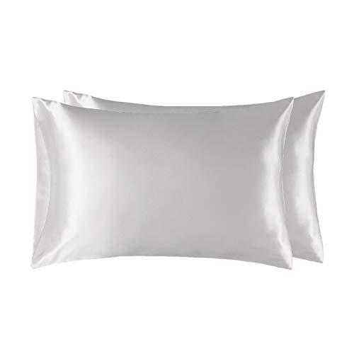 Bedsure Satin Kissenbezug weiß 40x80 Doppelpack, seidig Kopfkissenbezug 40 x 80 cm Haar- und Hautpflege, Weiss Kissenbezüge Kissenhülle in 2er Set, Silky Pillow case for Hair