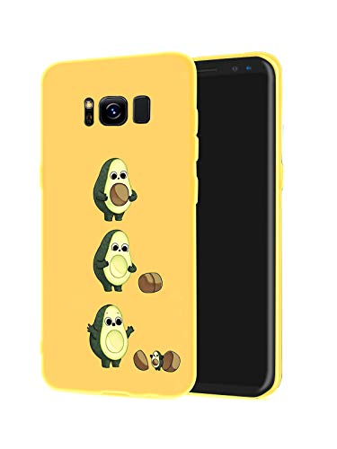 LuGeKe Cute Cartoon Avocado Print Phone Case for Samsung Galaxy S10 Plus Silicone Cases Comic Fruit Pattern Cover Shock Absorption Flexible Yellow Skin Frame