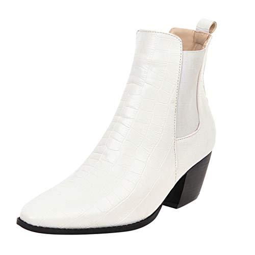 POLP Botas Mujer Fiesta Botines de piel de cocodrilo Botas de Tacón de 5.5 cm Zapatilla alta Patrón de cocodrilo Zapatos de Tacón