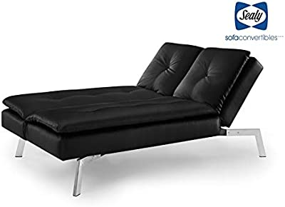 Amazon.com: Faux Leather Convertible Futon with Plush Pillow ...