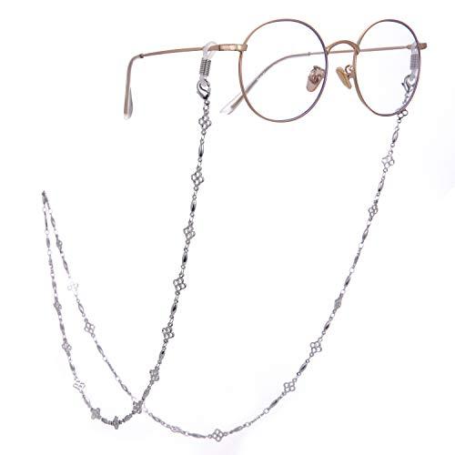 LIKGREAT 四つ葉のクローバー 眼鏡チェーンホルダー レディース ロングネックレス サングラスコード 2個