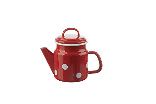 Munder-emaille - theepot - rood met witte stippen - Ø12xH17cm - 1 L