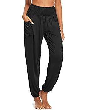 BALEAF Women s Harem Yoga Pants Loose Fit High Waisted Boho Flowy Comfy PJ Lounge Walking Dance Pants for Beach Travel Black M